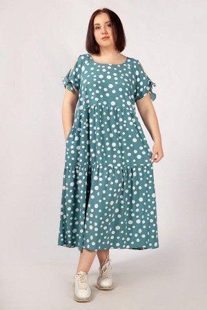 Платье горох горчичный,  бирюзовый,  Летнее женское платье в стиле «бохо», выполнено из легкого, практически невесомого шифона-стрейч. Покрой платья свободный. Два яруса воланов спереди, один ярус по