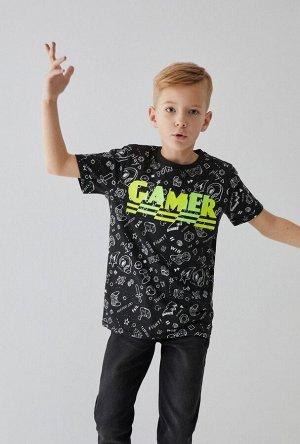 Футболка детская для мальчиков Garolin черный принт