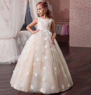 """Детское праздничное платье, принт """"цветы"""",  цвет кремовый"""