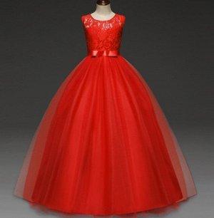 Детское праздничное платье, цвет красный