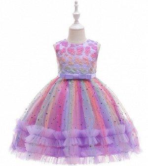 Детское радужное платье в блестках, цвет фиолетовый