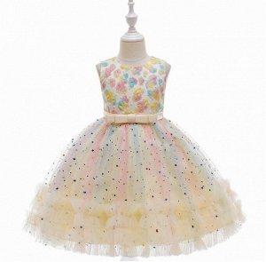 Детское радужное платье в блестках, цвет желтый