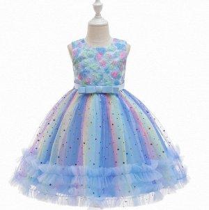 Детское радужное платье в блестках, цвет синий