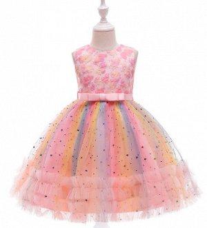 Детское радужное платье в блестках, цвет розовый