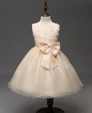 Детское платье, декор бант, цвет кремовый