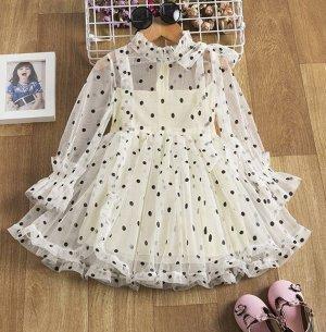 Детское платье с длинным рукавом, цвет кремовый