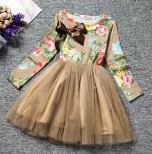 """Детское платье с длинным рукавом, принт """"цветы"""", цвет хаки"""