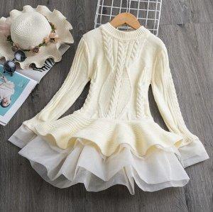 Детское теплое платье с длинным рукавом, цвет кремовый