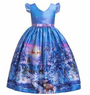 """Детское платье, принт """"олени, зимний лес"""", цвет синий"""