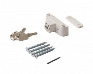 Детский замок (блокиратор) с цилиндром и ключом Elementis, белый