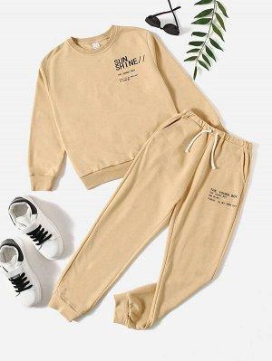 Пуловер с текстовым рисунком для мальчиков и спортивные брюки на кулиске для мальчиков