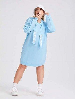 Платье-свитшот с капюшоном на кулиске Plus Size