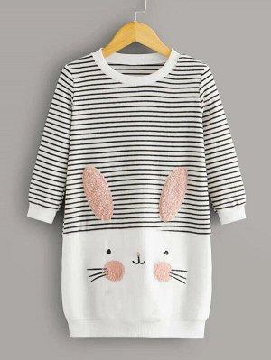 Полосатое платье-свитшот с мультяшным принтом для девочек