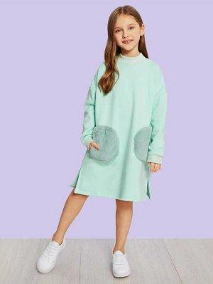 Платье с разрезом и искусственным мехом для девочек