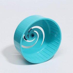 Колесо для грызунов литое пластиковое матовое, без подставки, 14 см, синее