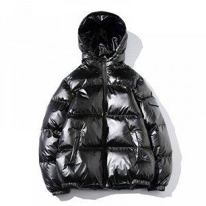 Зимняя мужская куртка-пуховик, цвет черный глянец
