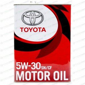 Масло моторное Toyota 5w30 синтетическое, SN/CF/GF-5, ACEA C2, универсальное, 4л, арт. 08880-83944