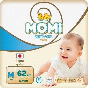 MOMI Ultra Care подгузники  M (6-11 кг). 62  шт
