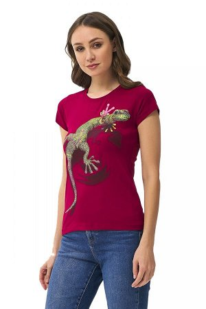 Женская футболка Stella Ящерица Бордовый