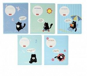 Тетрадь 18 листов в клетку «Кот тут!», картонная обложка, МИКС