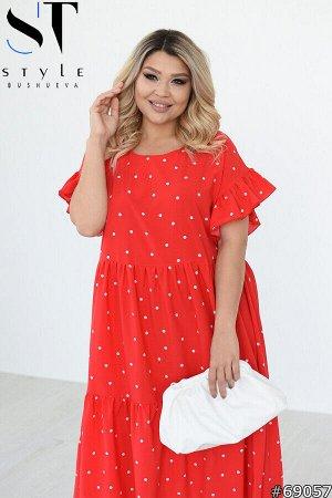 Платье Артикул: 69057; Материал: Софт; Цвет: красный; Размер на фото: XL; Параметры модели: 100-72-102; Рост модели: 163; 48-50: Ог 110 см, От 108 см, Об 156 см, длина изделия 114 см, рукав 27 см.; 52