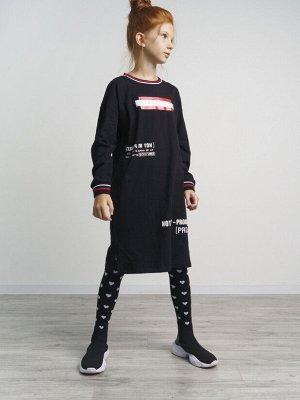 Платье трикотажное для девочек черный