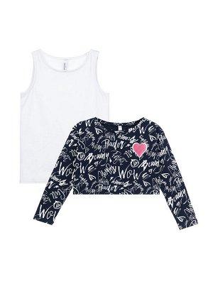 Комплект трикотажный для девочек: фуфайка (футболка), майка тёмно-синий,белый,розовый