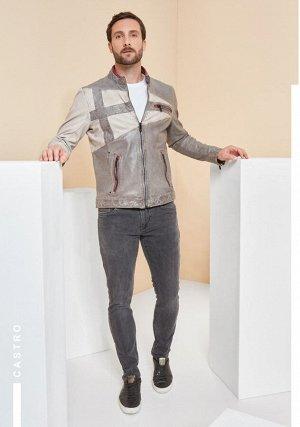 Куртка мужская  CASTRO light grey + off-white + ox-red