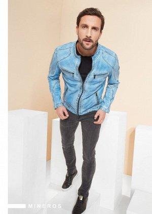 Куртка мужская  MINEROS light blue (with greyish waxing)