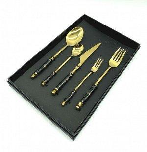 Наборы столовых приборов FESSLE 5 предметов, черный с золотом