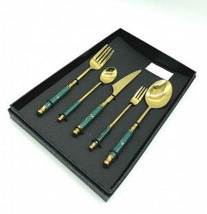 Наборы столовых приборов FESSLE 5 предметов, зеленый с золотом