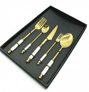 Наборы столовых приборов FESSLE 5 предметов, белый с золотом