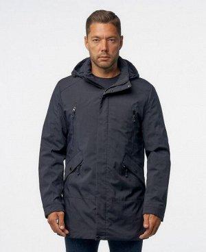 Куртка ТЕМНО-СИНИЙ ЧЕРНЫЙ Стильная мужская куртка, изготовлена из качественной ветрозащитной ткани с водоотталкивающим покрытием. Имеет два боковых кармана на молниях, два нагрудных кармана на молниях