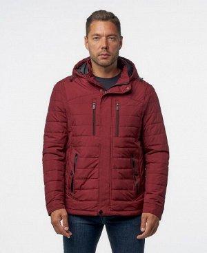 Куртка ТЕМНО-СИНИЙ ЧЕРНЫЙ ТЕМНО-КРАСНЫЙ Мужская куртка имеет; два нагрудных кармана на молниях, два нижних боковых кармана на кнопках, один внутренний карман на молнии, отстегивающийся капюшон, регули