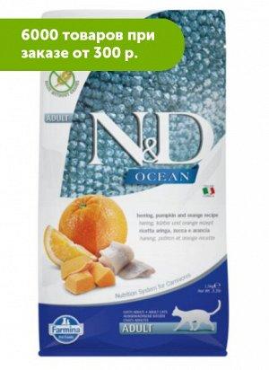 Farmina N&D Cat Ocean Adult сухой беззерновой корм для кошек Океаническая рыба/Тыква/Апельсин 300гр