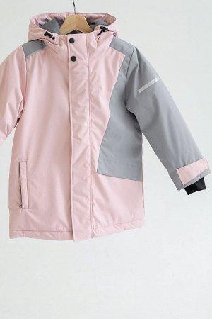 Куртка зима Colour block пудра