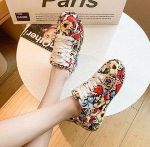 Женские кроссовки с принтом, цвет красный