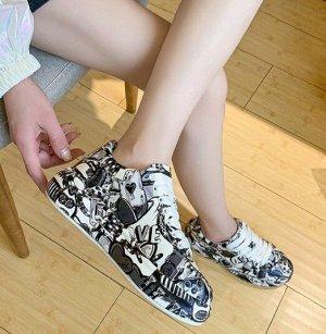 Женские кроссовки с принтом, цвет черно-белый