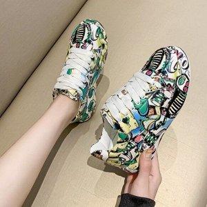 Женские кроссовки с принтом, цвет зеленый