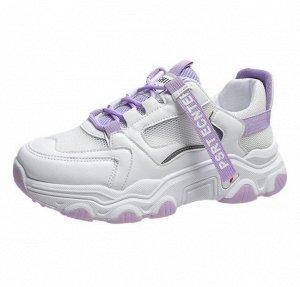 Женские кроссовки, цвет белый/фиолетовый