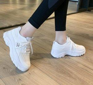 Женские кроссовки, экокожа, цвет белый