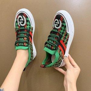 """Женские  кроссовки, принт """"узоры"""", цвет зеленый, черный, красный"""