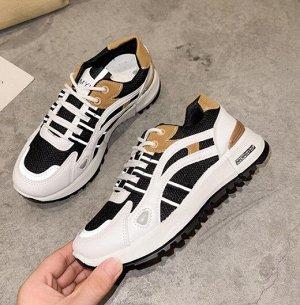 Женские кроссовки, цвет белый/черный/коричневый