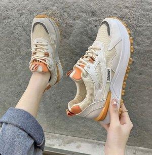 Женские кроссовки, цвет бежевый/оранжевый