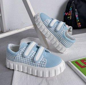 Женские кроссовки, на липучках, цвет голубой