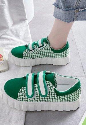 Женские кроссовки, на липучках, цвет зеленый