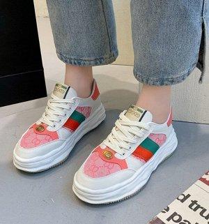 Женские кроссовки с принтом, цвет белый/розовый