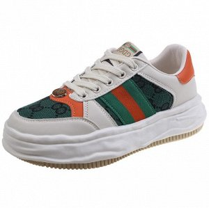 Женские кроссовки с принтом, цвет белый/зеленый