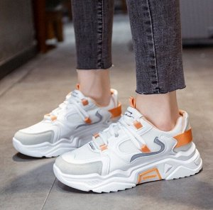Женские кроссовки, цвет белый/оранжевый