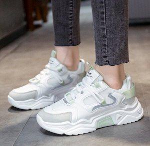 Женские кроссовки, цвет белый/зеленый